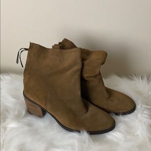 Sam Edelman Heel Suede Boots Brown Ankle
